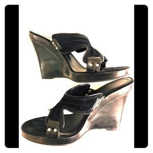 Calvin Klein Leather and Suede Wedge Sandals